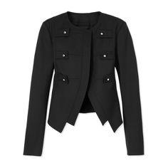 Derek Lam Military Jacket - Black Collarless Blazer