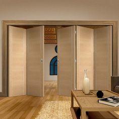 Thrufold Forli Oak Flush 3+2 Folding Door - Aluminium Inlay - Prefinished - Lifestyle Image.    #oakfoldingdoors #bifolddoors