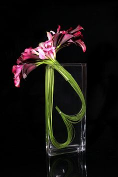 Eric Buterbaugh pink and black calla lilies, steel grass
