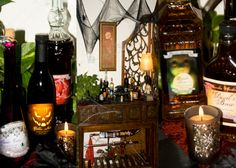 Check out our great blog about our #MasqueradeParty and get great #MasqueradePartyTips. Like how to make this great spooky beverage table at TheInspiredEdge.com