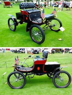 1901-1903 Oldsmobile Curved Dash Runabout. A five-horsepower vehicle that sold for about $650. About 4000 were built. One of the centerpieces of automobile collecting.