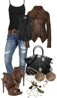 LOLO Moda: Gorgeous women's fashion - trends 2013 I normally don't go for black and brown together. Fashion Moda, Look Fashion, Fashion Outfits, Womens Fashion, Fashion Trends, Fall Fashion, Cheap Fashion, Fashion 2017, Fashion Styles