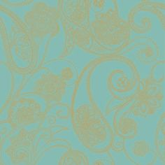 Wallpaper Candice Olson Metallic Dotted Gold Paisley on Turquoise Background #CandiceOlson