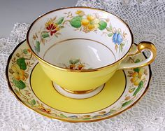 Royal Chelsea Staffs Tea Cup and Saucer, English Bone China, Yellow Teacup, Floral Tea Cup Set, Tea Tea Cup Set, My Cup Of Tea, Cup And Saucer Set, Tea Cup Saucer, Yellow Cups, Vintage Cups, Vintage Crockery, China Tea Sets, Teapots And Cups