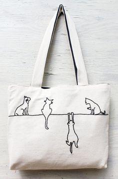en Bandolera similares hechas Bordado línea Cats a mano Minimalista a reutilizables modernas de Bolsas Artículos Tote Etsy Dibujo Alley wXdTBX6q