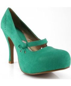Qupid Trench-103X Almond Toe Mary Jane Pumps SEA GREEN,