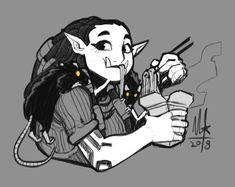 What're your thoughts on Gobbet, I don't think I've seen you draw her before. Gobbet is great! She's probably my favourite of the Hong Kong companions. Fantasy Character Design, Character Creation, Character Design Inspiration, Character Concept, Character Art, Concept Art, Character Ideas, Dnd Characters, Fantasy Characters