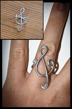 Violin Key handmade ring treble clef wire ring by SilviaWithLove, €5.00