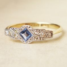 One of a Kind Art Deco Sapphire & Diamond Engagement Ring, Antique Sapphire Platinum and 18k Gold Ring, Approximate Size US 7.25. $658.00, via Etsy.