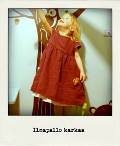 A hemp dress for a child. More pictures at: http://kolttu.blogspot.fi/2013/11/pilven-paalla-hamppumekko.html