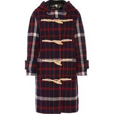 Burberry Hooded checked woven duffle coat (25.648.835 IDR) ❤ liked on Polyvore featuring outerwear, coats, red, burberry, red hooded coat, hooded toggle coats, hooded coat and red coat