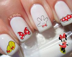 It's Minnie Mouse nail decals, very pretty, bright stickers with unique designs. It's Minnie Mouse nail stickers made on high quality decal paper. These decals can be applied to any type of nails (regular polish, soak off gel, hard gel and acrylic). Disney Princess Nails, Disney Nails, Red Nails, White Nails, Burgendy Nails, Oxblood Nails, Magenta Nails, Coffen Nails, Nails Turquoise