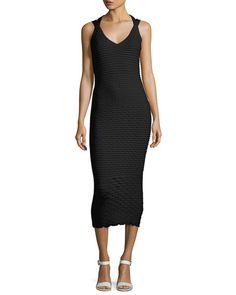 MICHAEL KORS Fish Scale Jacquard Midi Dress, Black. #michaelkors #cloth #