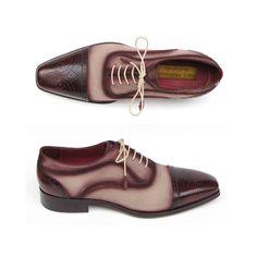 Paul Parkman Men's Captoe Oxfords - Bordeaux / Beige  Suede Upper and Leather Sole (ID#024-BRR)