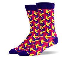 Fuchsia Yellow Purple Arrow Socks