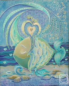 Голубь Татьяна. Рыбка - мечтательница Dot Painting, Fabric Painting, Painting & Drawing, Batik Art, Batik Prints, Fantasy Character, Fish Patterns, Silk Art, Chalk Pastels