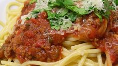 NTS: No green peppers or tomato sauce, instead add oz water. Rich and meaty spaghetti sauce is surprisingly easy to make, and ready in just over an hour. Serve over any variety of hot cooked pasta. Meat Recipes, Pasta Recipes, Healthy Dinner Recipes, Cooking Recipes, Recipies, Sausage Recipes, Turkey Recipes, Healthy Desserts, Meaty Spaghetti Sauce
