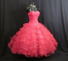 Vintage 1950's 50s Bombshell Strapless RED Tulle by VintageVortex