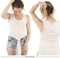 As regatas longas são super estilosas e estão em alta nessa temporada! Ficam lindas usadas com um nozinho na frente e short jeans para um look bem fresco de verão. #moda #look #outfit #regata #short #jeans #estilo #tendência #novidade #trend #shop #ecommerce #loja #lnl #looknowlook