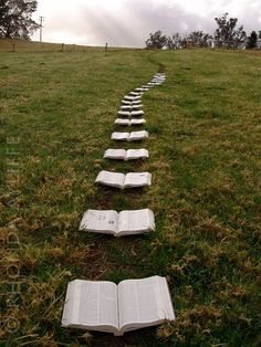 """Proposal. a trail of bibles with each one flipped and highlighted with a bible verse about love, commitment, and marriage leading to my future husband. Wow! Oh my word this is the most precious proposal I have ever seen!"""