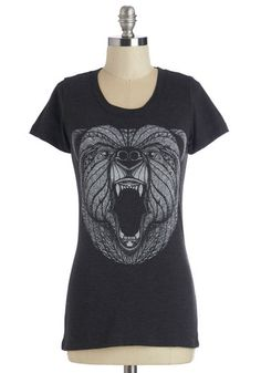 One, Two, Three, Roar! Tee - Mid-length, Knit, Black, Print with Animals, Casual, Critters, Woodland Creature, Short Sleeves, Scoop