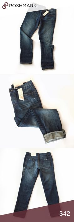 "NWT Ann Taylor LOFT distressed boyfriend jeans These will be your staple fall jeans! Pair them with heels, oxfords, flats, dress them up or down! 4 button front. Brand new with tags. Gorgeous quality, heavyweight, dark wash denim.  • 100% cotton • Size 2 (LOFT tends to run big so please READ MEASUREMENTS if you don't know your size in this brand) • 15"" waist • 8.5"" rise • 30"" inseam LOFT Jeans Boyfriend"