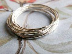 Interlocking Wedding Band Set, 18k White Gold, Russian Marriage Band, Rolling Ring ... Set of 7. $672.00, via Etsy.