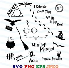 Harry Potter svg, Sorting Hat svg, Snitch svg, Charms svg, Accio, Expecto Patronum, Deathly hallows, Potter clipart, Cricut, Silhouette by PapierMa on Etsy