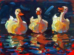 Coloring Ducks, painting by artist Rick Nilson