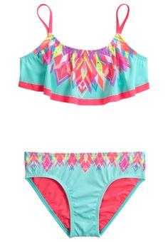 Geo Print Flounce Bikini Swimsuit