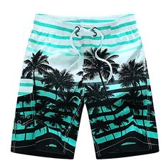 ALiberSoul Mens Coconut Tree Print Tropical Design Boardshorts US M Aqua *** Click the VISIT button for detailed description