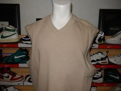 Men's Nike Golf Thick Cotton Vest Tan Khaki XL Heavyweight Quality #NikeGolf #Vests