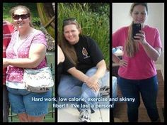 The picture on the left is me at my heaviest weight, the middle one is when I started Skinny Fiber and the one on the right was today!! I've always been an emotional eater, and a still birth, miscarriage and a failed marriage took it's toll. I think seeing this picture is what really motivated me to get my behind in gear and make changes. With a lower calorie lifestyle and exercise I began to lose the weight, until I hit the dreaded plateau. Even on a 1200 calorie a day diet with exercise I…