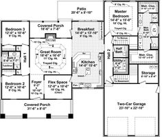 Craftsman Level One of Plan 59178 - flex space would be opened for formal dining