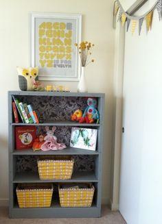 gray & yellow nursery bookshelf