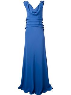 Blue silk evening dress from Alberta Ferretti featuring a sleeveless design, a cowl neck, a concealed side zip fastening, pleated details and a long length. This item is true to fit.