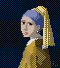 Pixelated rendtion of Girl with a Pearl Earring