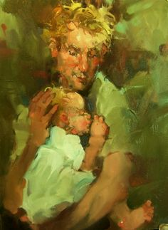 """Dad"" Impressionistic Figures/Portraits 6x8 oil. Father, painting by artist Kim Roberti"