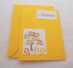 Yellow Autumn note card hand stamped note card by DawnFrostDesigns