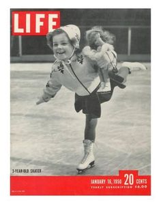 """From the January 16 1950 cover story """"Prodigy on Ice - A little girl charms spectators and skaters at Rockefeller Center."""" This image of Helen Ann Rousselle appeared on the cover. Vintage Children Photos, Vintage Pictures, Vintage Images, Life Cover, Ice Skaters, Oui Oui, Rockefeller Center, Life Magazine, Vintage Photographs"""