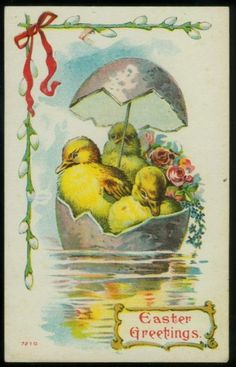 ANTIQUE EASTER POCTCARD BABY DUCKS IN EGGSHELL BOAT
