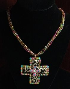 Cheetah Cross on Beaded Necklace by Justfashionating on Etsy, $29.95