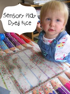 Dyed rice sensory play- simple to make and so much fun!
