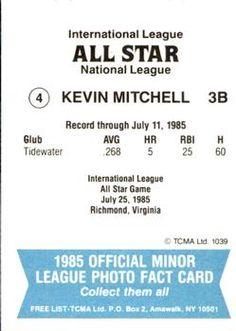 1985 TCMA International League All-Stars #4 Kevin Mitchell Back