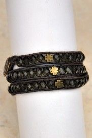 """""""Eunice""""   A wrap bracelet with brass crosses interspersed between fire-polished Czech beads edged in distressed brown leather. Wrap your faith around your wrist and around the young Christians in your life so that you, and they, will be nurtured in the faith."""