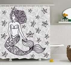 Mermaid Shower Curtain by Ambesonne, Spiritual Magical Mermaid Woman in Waves with Shell Flower Nymph Mythological Art Print, Fabric Bathroom Decor Set with Hooks, 84 Inches Extra Long, Grey