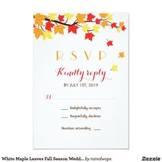 WEDDING RSVP Fall Autumn  Maple Leaves Wedding Invite Announcement Card  #wedding #rsvp #fall