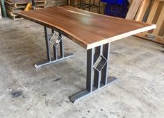 Dining Table, Reclaimed Black Walnut Table Top With Steel Legs, Salvage Black…