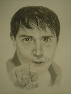 "Pencil portrait of Bloodhound Gang lead singer Jimmy Pop from the ""Uhn Tiss Uhn Tiss"" music video. Made using a mechanical pencil, eraser pen, regular eraser, kneaded eraser and blending stumps. Freehand, based on a photograph."