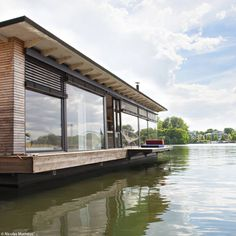 On the water Floating House, Glass House, Construction, Elle Decor, Architecture, Decoration, Cabin, France, Windows